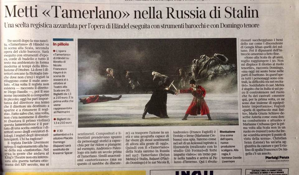 Tamerlano al Teatro alla Scala di Milano